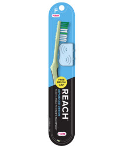 REACH Advanced Design Toothbrush with Firm Bristles and Toothbrush Cap, 1 Count