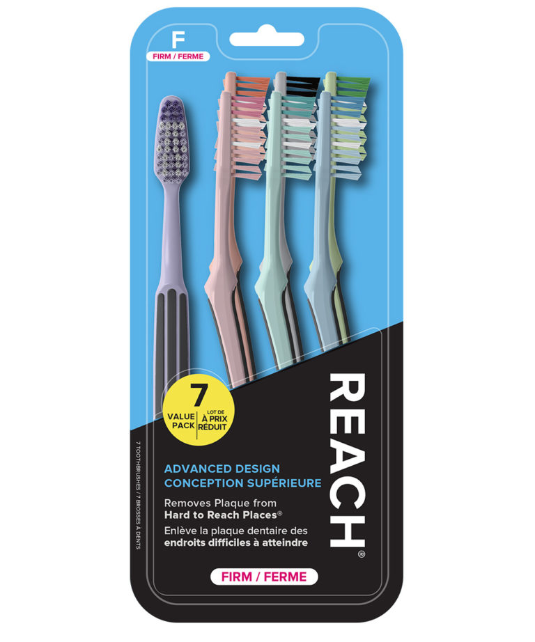 REACH Advanced Design Toothbrush with Firm Bristles, 7 Count Value Pack