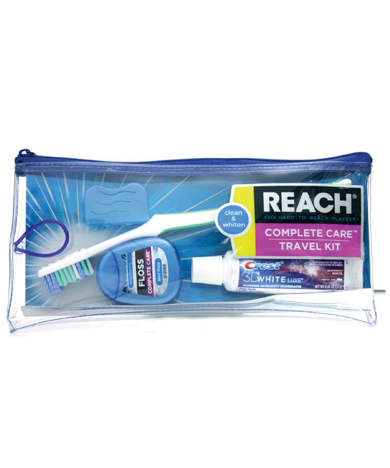 REACH Advanced Design Travel Kit with Toothbrush, Toothbrush Cap, Toothpaste, and Flossers