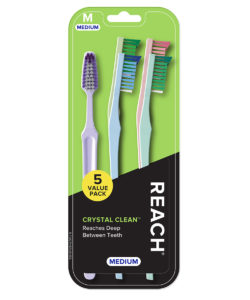 REACH Crystal Clean Toothbrush with Medium Bristles, 5 Count