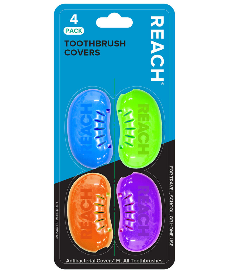 REACH Essentials Antibacterial Toothbrush Covers, 4 count
