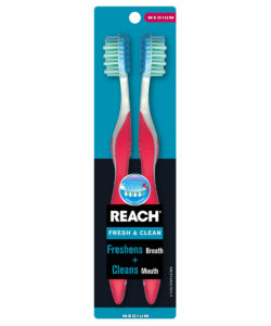 REACH Fresh & Clean Toothbrush with Medium Bristles, 2 Count