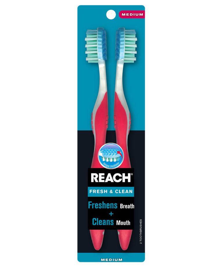 REACH Fresh & Clean Toothbrush with Medium Bristles, 2 Count