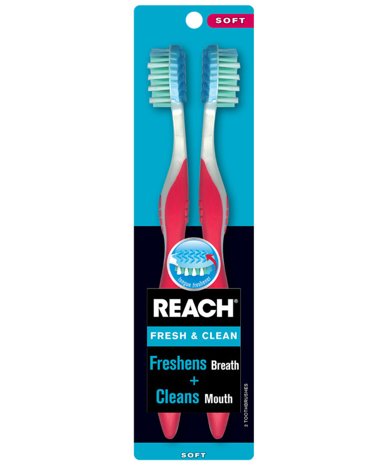 REACH Fresh & Clean Toothbrush with Soft Bristles, 2 Count